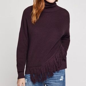 NWT BCBGeneration Fringe Turtleneck Sweater